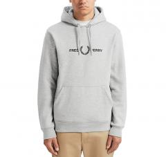 Fred Perry Graphic Hooded Sweatshirt Steel Marl