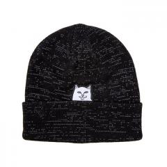 RIPNDIP Lord Nermal Rib Beanie Black Reflective Yarn