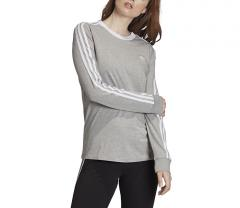Adidas Originals Womens 3 Stripes LS Tee Medium Grey Heather / White