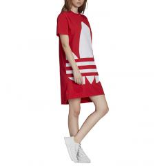 Adidas Originals Womens Large Logo Tee Dress Lush Red / White