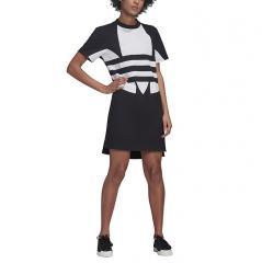Adidas Originals Womens Large Logo Tee Dress Black / White