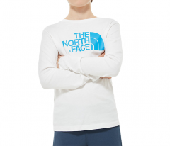 The North Face Youth Easy Longsleeve Tee TNF White / Clear Lake Blue