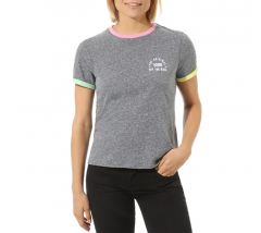 Vans Womens Rally Bell Tee Grey Heather / Fuchsia Pink