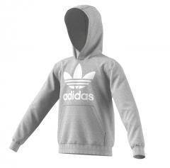Adidas Youth Trefoil Hoodie Medium Grey Heather / White