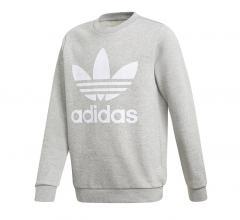 Adidas Youth Trefoil Crew Sweatshirt Medium Grey Heather / White