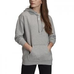 Adidas Originals Womens Trefoil Essentials Hoodie Medium Grey Heather