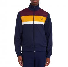 Fred Perry Colourblock Track Jacket Mahogany