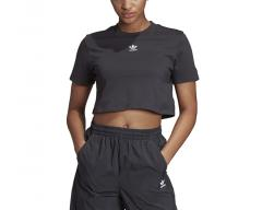 Adidas Originals Womens Trefoil Essentials Cropped Tee Black