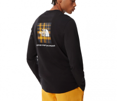 The North Face Redbox L/S Tee TNF Black / Summit Gold Heritage 2 Plaid