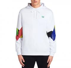Fred Perry Abstract Sport Hooded Sweatshirt White