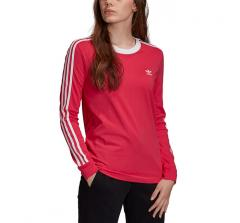 Adidas Originals Womens 3 Stripes LS Tee Power Pink / White