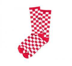 Vans Checkerboard II Crew Sock Red / White Checkerboard