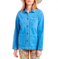 Brixton Womens Detroit Round Collar Chore Coat 70s Blue