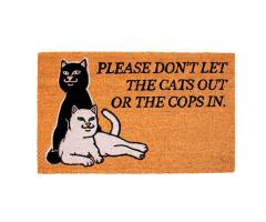RIPNDIP Don't Let The Cops In Door Mat Brown