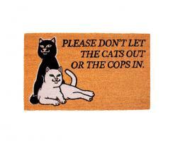 RIPNDIP Don't Let The Cops In Door Mat Brown