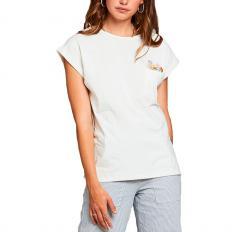 Dedicated Womens Flower Pocket T-Shirt Off White