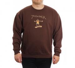 Thrasher Gonz Logo Crew Dark Choc
