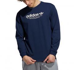 Adidas Originals 4.0 Logo Long Sleeve Tee Collegiate Navy / Wonder White