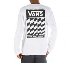 Vans Off The Wall Classic Slanted Check Long Sleeve T-Shirt White