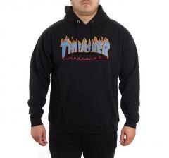Thrasher Flame Logo Hoodie Black / Blue