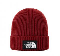 The North Face Logo Box Cuffed Beanie Brick House Red