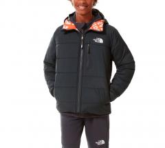 The North Face Youth Perrito Reversible Jacket Asphalt Grey / Red Orange Tagline