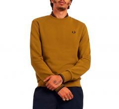 Fred Perry Crew Neck Sweatshirt Dark Caramel